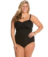 Delta Burke Plus Size Drapey Solids Goddess Mio One Piece