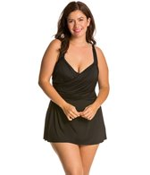 Delta Burke Plus Size Drapey Solids Shirred Swimdress One Piece Swimsuit