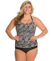Delta Burke Plus Size Drapey Highneck Shirred Mio One Piece