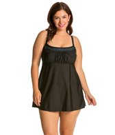 Delta Burke Plus Size Solids With Bling Peasant Swimdress