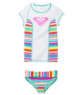 Roxy Kids Girls' S/S Rashguard Top Striped Bottom Set (2yrs-7yrs)