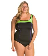 Fit4U Plus Size Color Blocks Square Neck One Piece Swimsuit