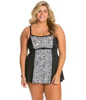 Fit4U Plus Size Tango Blocked Swim Dress