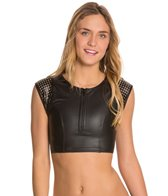 Hurley City Sleek Zip Up Crop Bikini Top