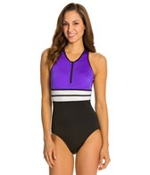 Fit4U Color Blocks Hi Neck One Piece Swimsuit