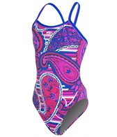 Blue Seventy Girls' Paisley Lotus Open Back Swimsuit