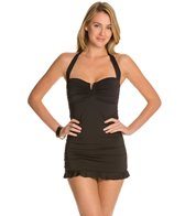 Tommy Bahama Pearls Solids Halter V Front Shirred One Piece