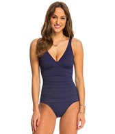 Tommy Bahama Pearl Solids V Neck Surplice One Piece Swimsuit