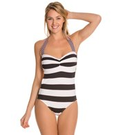 Tommy Bahama Rugby Stripe Halter One Piece Swimsuit W Cutout Back