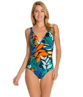 Tommy Bahama Tropical Leaf V Neck One Piece Swimsuit W Scoop Back