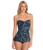 Tommy Bahama Vintage Map Sweetheart Ruffled Skirted OTS One Piece Swimsuit