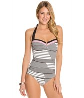 Tommy Bahama Slanted Stripes V Front Halter One Piece Swimsuit
