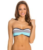 Tommy Bahama Swimwear Bold Stripe and Mini Anchor V Front Bandeau Bra Bikini Top