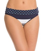 Tommy Bahama Swimwear Bold Stripe and Mini Anchor Reversible Wide Band Hipster Bikini Bottom