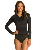 Spanx Long Sleeve Zip Front One Piece Swimsuit
