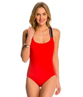 Tommy Hilfiger Signature Solid Cross Back One Piece Swimsuit