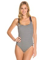Tommy Hilfiger Lake Side Stripe Cross Back One Piece Swimsuit