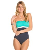 Tommy Hilfiger Color Block Solids Cinched Front One Piece Swimsuit
