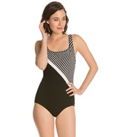 Active Spirit Sport Support Striped Tank Swimsuit