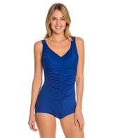 Tuffy Shirred Front Girl Leg One Piece Swimsuit