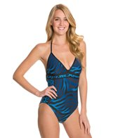 Carmen Marc Valvo Sahara Halter One Piece Swimsuit