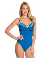 Carmen Marc Valvo Mondrain Spliced Underwire One Piece Swimsuit