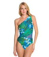 Carmen Marc Valvo Tropical Fantasy One Shoulder One Piece Swimsuit
