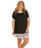 Dotti Plus Size Block Out Shoulder Cut Out Tunic