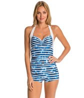 Seafolly Inked Stripe Halter Bikini Top Boyleg One Piece