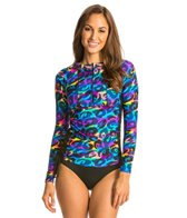 Illusions Activewear Ruched Camo Glow Rash Guard