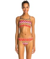 Illusions Activewear Springtime Chevron Two Piece Swimsuit Workout Swimsuit