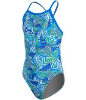 Illusions Activewear Geo Centric Youth Thin Strap One Piece Swimsuit