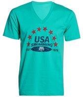 USA Swimming Men's Distressed V-Neck T-Shirt