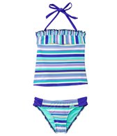 Adidas Girls' Stripe It Lucky Tankini Halter Set (7-16 yrs)