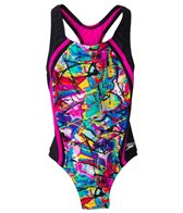 Speedo Girls' Freestyle Graffiti Sport Splice One Piece (7yrs-16yrs)
