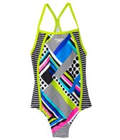 Speedo Girls' Poptical Stripes Side Splice One Piece (7yrs-16yrs)