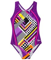 Speedo Girls' Poptical Stripes Sport Splice One Piece (7yrs-16yrs)