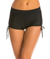 Absolute Fitness Swim Solid Side Shirred Boyshorts