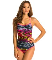 Champion Reversible Digi-Stripe Openback Lingerie Tank One Piece Swimsuit