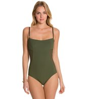 Aerin Rose Solid Underwire Mesh Side One Piece Swimsuit