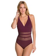 Aerin Rose Bordeaux Underwire Lace Up One Piece