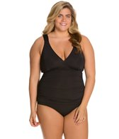 Sunsets Plus Size Black Shirred One Piece Swimsuit