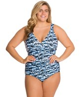 Sunsets Plus Size High Tide Shirred One Piece Swimsuit