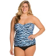 Sunsets Plus Size High Tide Shirred Tankini Top (D/DD)