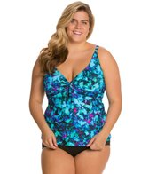 Sunsets Plus Size Sea Glass Twist Tankini Top (E/F)