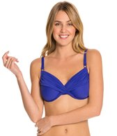 Swim Systems Atlantic Blue Shirred Underwire Bikini Top (D/DD)