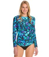 Sunsets Sea Glass L/S Side Shirred Swim Top