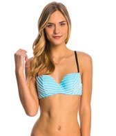 Betsey Johnson Stripes Allure Bump Me Up Underwire Bandeau Bikini Top