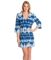 J.Valdi Black & Blue 3/4 Sleeve Cover Up Tunic