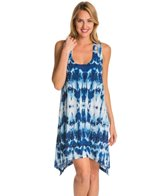J.Valdi Black & Blue Double Strap Tank Cover Up Dress